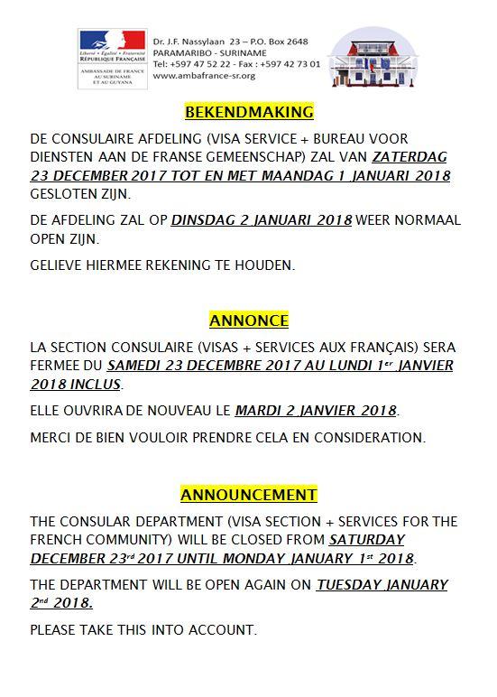 Announcement - Ambassade de France au Suriname et au Guyana